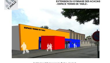 Extension de la salle de tennis de table du gymnase des Acacias à Terville